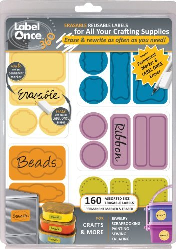 Jokari Label Once Crafts and More Erasable Labels Kit with 160 Labels, Eraser and Pen by JOKARI