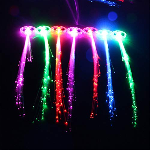 Light Stick Party Camping Licht Glow Stick, LED Glasfaser Lichter bis Multicolor Haarspangen, LED Haar Lichter, Multicolor Haarspange Clip Braid Party Supplies (Blinken Farben) (5 x), gemischt