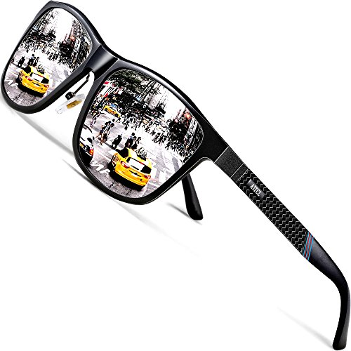 ATTCL Herren Polarisierte Fahren Sonnenbrille Al-Mg Metall Rahme Ultra Leicht 858-8 Silver