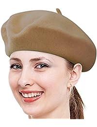 Babe Mall Inc® Nueva Moda Color sólido caliente lana invierno mujeres niñas boina francés artista Beanie gorro gorra de esquí para mujer