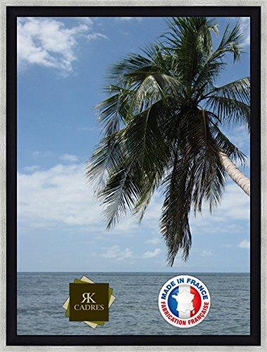 Caisse américaine Format Paysage 8 33x46/46 x 33 cadre Caisse Americaine Noir Argent, 4 cm de largeur, Cadre en bois Cadre pour une toile seulement