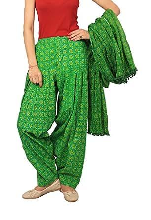 Rama Women's Cotton Green abstract print Patiala dupatta set.