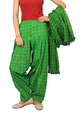 Rama Green colour abstract print patiala dupatta set.