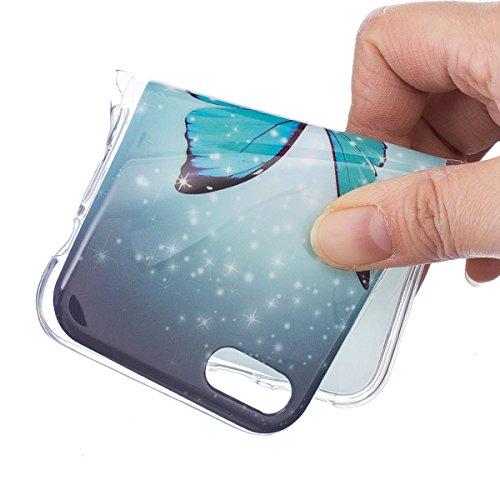 EUWLY [Nottilucenti Luminoso] Silicone Custodia Per iPhone 7/iPhone 8 (4.7) Cover TPU Glitter Brillante Cristallo Telaio Trasparente Sottile Protettiva Cassa Bumper Morbido Flessibile TPU Gomma Silic Farfalla