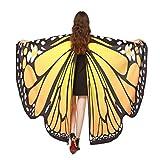 Elecenty Soft Schmetterlingsflügel Shawl Fairy Nymph Pixie Costume Accessory Schmetterling Flügel Schal Schals Nymphe Poncho Kostüm Zubehör für Show Daily Party Fasching (Einheitsgröße, Orange 2)