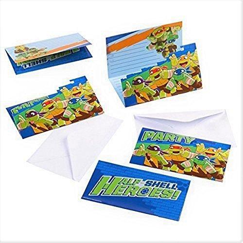 Amscan International Halbschale Helden, Teenage Mutant Ninja Turtles Party Einladungen (Pack von 8). - Turtle Ninja Pack Party