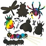 Kratzbild-Magneten - Insekten - scratch art mit Regenbogenfarben für Kinder