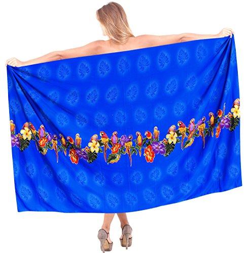 La Leela signore pappagallo floreale bikini gonna costumi da bagno costume da bagno delle donne beachwear coprire abito pareo Blu