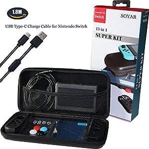 SOYAR 13 in 1 Super-Kits von Nintendo Switch, Nintendo-Schalter Fall Kompatibel mit schützenden harten tragbaren Reisetasche Shell Tasche für Nintendo Switch Tasche & Zubehör.(Schwarz)