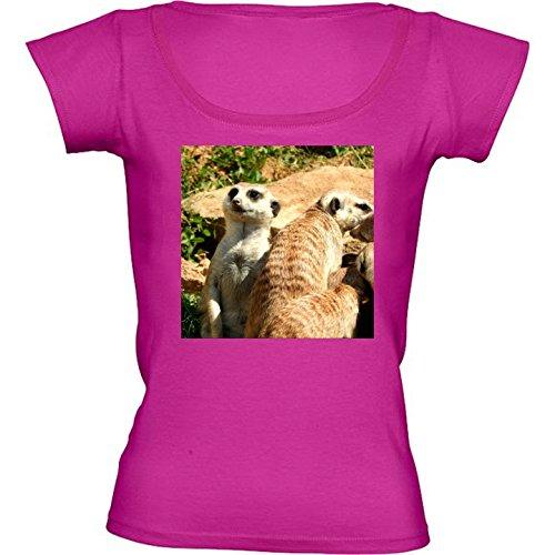 T-shirt Rosa Fuschia Girocollo Donne - Taglia L - Meerkat Fauna Simpatico Animale by WonderfulDreamPicture