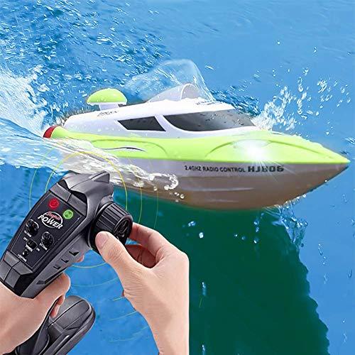 FATSW High Speed Ferngesteuertes Boot RC Boot mit Licht, 35KM/H 2,4 GHz Funkfernsteuerung 3000 mAh Warnung vor Schwacher Batterie für Erwachsene & Kinder für Pool & Outdoor(Weiß Grün) (Lichter Boot Angeln)