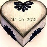 Joyero del Anillo Personalizado, Caja del Anillo Pareja, Joyero de Boda, Joyero Corazón del Amor, Joyero Anillo Corazón, Joyero Madera Boda