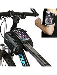 """Roswheel Desmontable Bolsa de Ciclismo, Bolso de Bicicleta bolso de bicicleta delantera superior del marco del tubo Pannier Doble bolsa del Bolso Silicona soporte para teléfono adecuado para Smartpohne con tamaño de 4 """"a 6.7"""" Además, Brazal del deporte para trotar, correr, fitness, etc."""