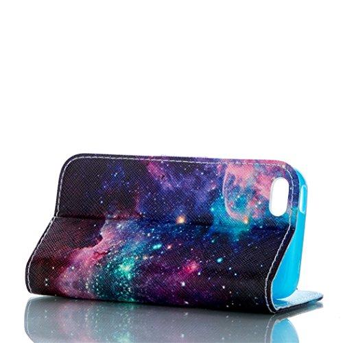 Flip Case mit Magnetverschluss für Apple iPhone 5C - Aohro Premium PU Leder Stand Case Wallet Brieftasche Ledertasche Schutzhülle Tasche + Staub Stecker + Stift - Muster Elefant Star