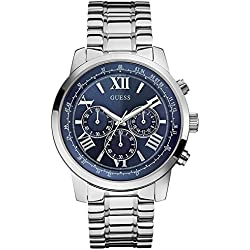 Guess Men's Quartz Watch with Blue Dial Analogue Display and Silver Stainless Steel Bracelet W0379G3