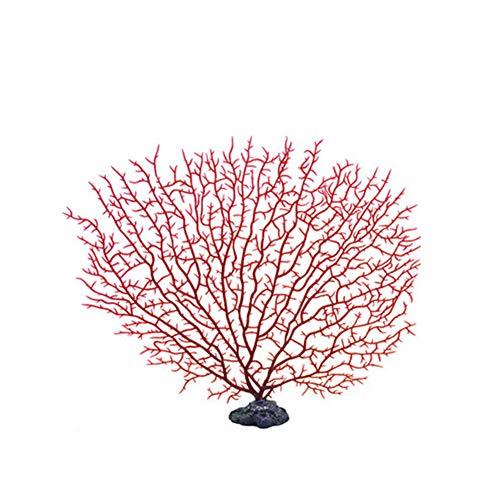 Da.Wa Simulazione Corallo marino Muro artificiale per Acquari Abbellimento dell'ornamento dell'acquario della decorazione della pianta di plastica subacquea Rosso (1 PCS)