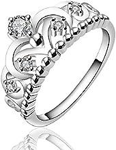 fashion 925 de plata de ley o cama de matrimonio Diseño elegante diseño de corona de joyería anillo tamaño 7