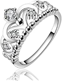 joyliveCY Women Fashion 925 Sterling Silver Jewelry Chunky Round Band Zircon Noble Upscale Ring Size 7