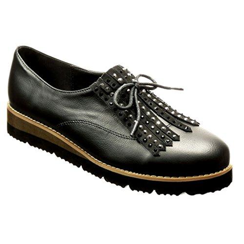 Angkorly - Scarpe da Moda Mocassini scarpa derby slip-on donna frange strass lacci Tacco zeppa 3.5 CM - Nero WH801 T 40