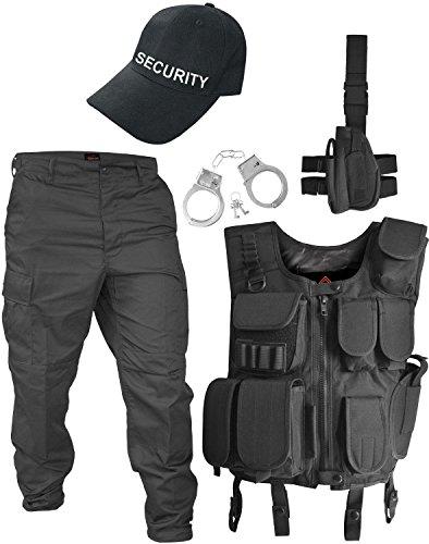 Kontakte Für Kostüm - normani SWAT/Security/Police Kostüm bestehend aus Weste, Hose, Pistolenholster, Handschellen und Basecap Farbe Schwarz/Security Größe L