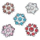 Souarts Rund Gemischte Antiksilber Blumen Click Buttons Druckknöpfe Set 5.5mm