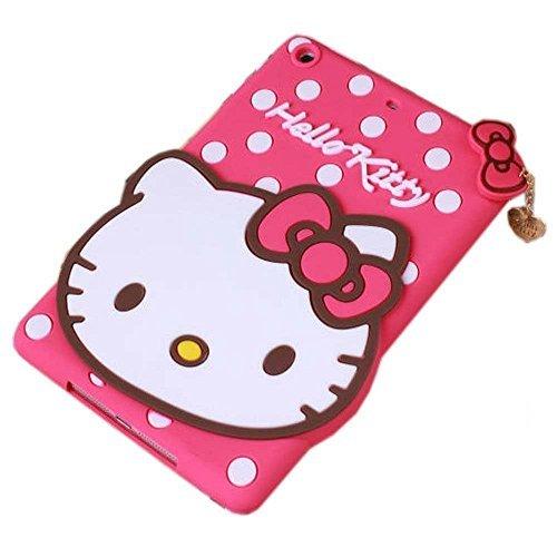 iPad Mini Fall , Phenix-Color 3D Silikon [Drop Proof, stoßfest, Rutschfeste] Despicable Me 2Hello Kitty Cartoon Gel Gummi Back Cover Case für iPad Mini 123 Hello Kitty Hot Pink