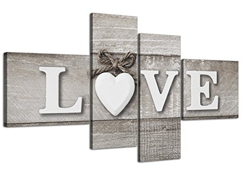 Grande shabby chic love quote–grigio stampa su tela, stampe–multi 4part–4297wallfillers