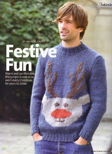 Festive Fun Men's Christmas Reindeer Motif Sweater Knitting Pattern: To fit chest 36