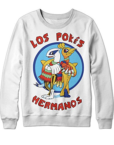 (Sweatshirt Pokemon Go Los Pokes Hermanos Mashup Breaking Bad Team Rocket Jessie James Mauzi Kanto 1996 Blue Version Pokeball Catch 'Em All Hype X Y Nintendo Blue Red Yellow Plus Hype Nerd Game C210005 Weiß XXL)