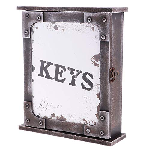 Tubayia Vintage Wooden Key Cabinet Wall Mount Key Cabinet with 6 Hooks for Home Decoration White