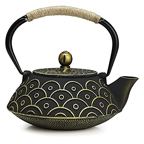 Fuloon Retro Cast Iron Teapot Tea Kettle with Strainer (30oz/0.9L, Fish Scales Pattern)