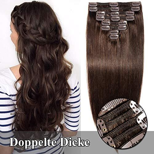 TESS Clip in Echthaar Extensions guenstig Haarverlängerung Doppelt Tressen für komplette Haarextension 8 Teile 18 Clips Glatt 7A Dick Hair (35cm-120g, 2 Dunkelbraun)