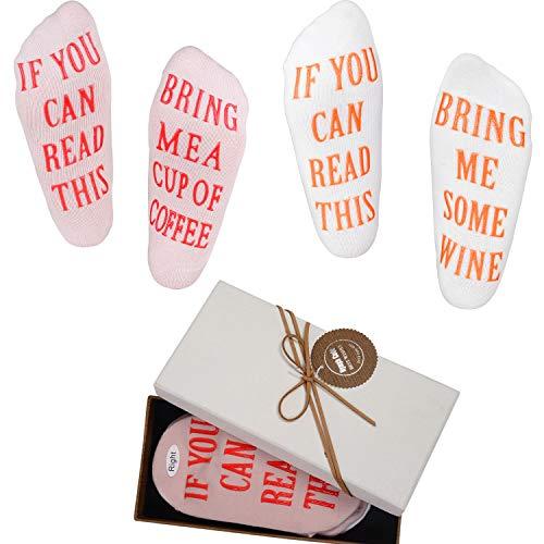 """Nymph Code Lustige Wein Socken Mit Spruch """"If You Can Read This Bring Me Some Wine,Coffee"""",2 Paare Mit A Geschenkbox,Ausgefallene Weihnachten Neujahr Geschenkidee für Frauen"""