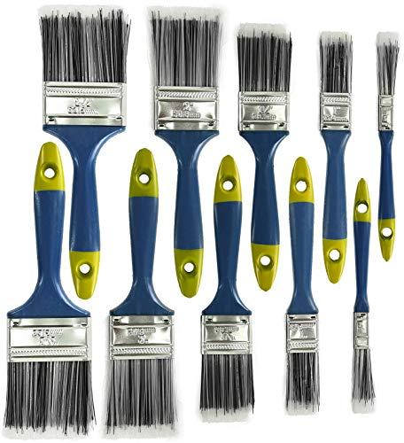 Lackierpinsel 10-teiliges Set - Flackpinsel für Lasur,Wasserlack und Acrylfarben - Lasurpinsel Pinselset Malerpinsel Pinsel - 100% Polyester-Borsten