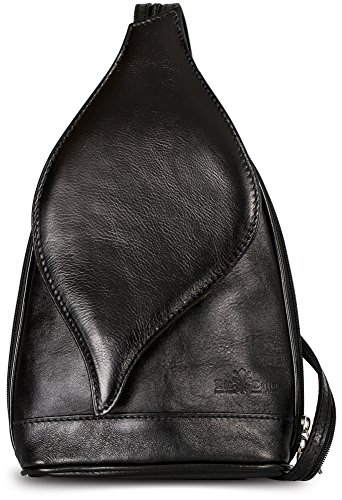 Petit sac à main 2 en 1 porté épaule transformable en sac à dos en autentique cuir italien - Ouverture magnétique type feuille - 'Kim' par LiaTalia(Noir)