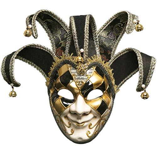 Robo Venezianische Maske Joker Karneval Gesichtsmaske Fasching Vintage Maskerade Party Kostüm Halloween (Schwarz)