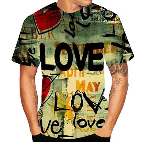 Xmiral Herren Top Bluse 3D Flood Kurzarm-T-Shirt Gedruckt Baumwolle O-Ansatz Übergröße Pullover(L,B)