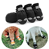 Hcpet Dog Boots, Set of 4 Waterproof Anti-slip Soft Sole Dog Paw Protectors with Reflective Strap and Elastic Band for Small and Medium Dogs