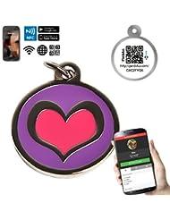 Chapa Placa Identificativa para Perros Corazón con tecnología NFC Contactless y QR gestionable vía APP | (Morado)