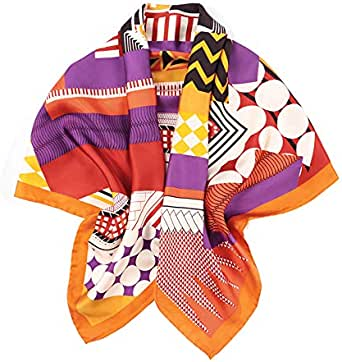 laprée - Sciarpa Donna Seta Sciarpa in Twill di Seta di Alta Qualità 14-Momme Orlato a Mano Motivo a Strisce 90 * 90CM