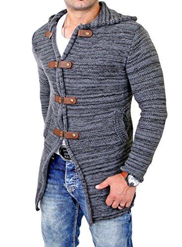 Tazzio Herren Strickjacke Lange Grobstrick Jacke mit Kapuze TZ-451 Anthrazit