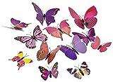 FiveSeasonStuff Lot de 24 Stickers Muraux Collection de 3D Papillons avec épingle de sûreté pour robe de mariée et vêtements (rose et violet mélanger papillons)
