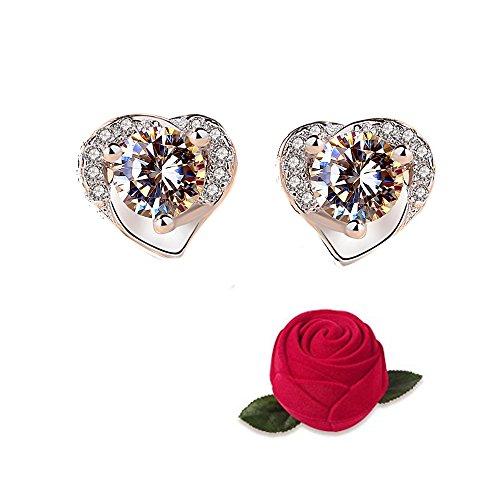 Ohrringe Silber Damen Halskette mit herzförmigen Anhänger aus feinstem Silber 925 Geburtstagsgeschenk (LSE0098)