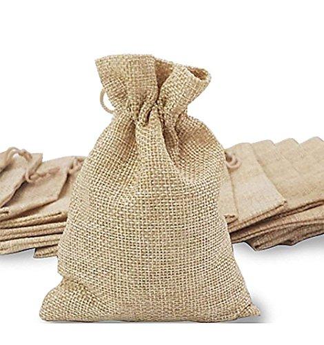 (QILICZ 30 stück Jutesäckchen Jute Sack Beutel Leinen Schmuck Säckchen mit Zugband Tasche Geschenksäckchen für Hochzeitsfeier und DIY Handwerk,9.5x12.5cm)