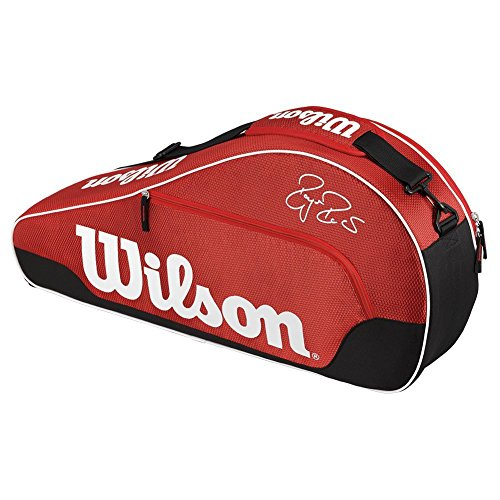 Wilson Schlägertasche Federer Team III 3er Racketbag, rot, 76 x 12 x 32 cm, 29 Liter, WRZ833603
