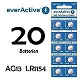 NEMT 20 x Everactive AG13 / 147 / LR44 / SR44W / 357 Knopfzelle Uhrenbatterie 1,5 V