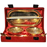 SAI TRADERS Gold And Silver Brass Bowl Set Of 5 Pcs With Box Packing 20.7 X 11.7 X 5.1 Cm