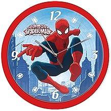 Marvel Spiderman pared Reloj Niños Reloj De Pared (301638), diámetro 25cm, color rojo/azul