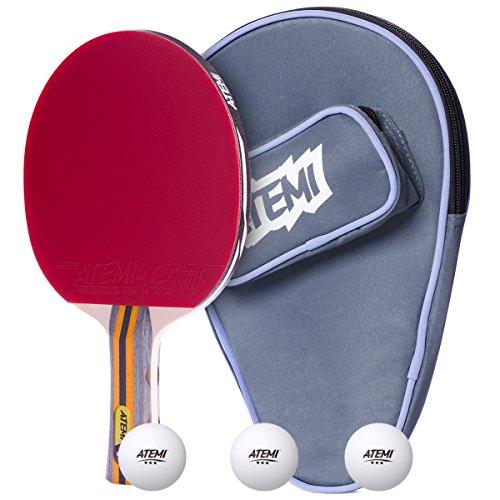 Atemi Sniper Set da Ping Pong (3 pezzi) Racchetta da Ping Pong a 5 strati, 5 stelle, 3 palline, Custodia per racchetta| Perfetto per professionisti e principianti | Ottimo effetto, velocità, controllo
