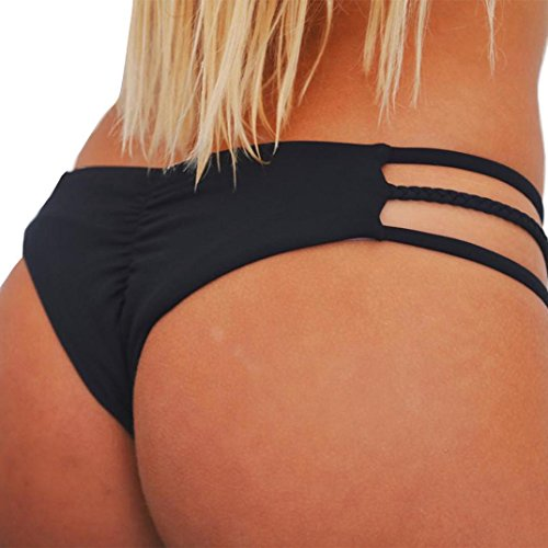 Bademode Damen, GJKK Damen Tanga Bikinihose String Weave Bandage Rüschen Brazilian Bikini Slip Schnüren Höschen Badeshorts Bikinihose Schwimmhose (Schwarz, L) (Rüschen Schwarze Bikini)